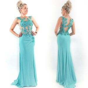 Fitted Illusion Blue Lace Prom Pageant Dress